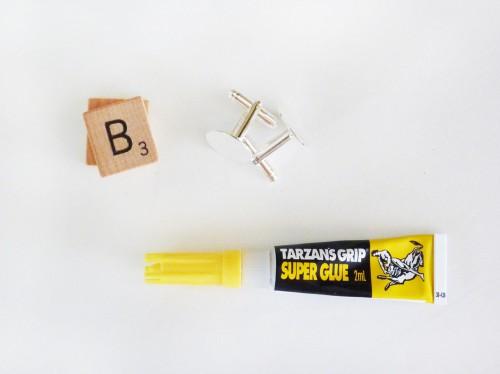 Scrabble tile cufflinks & brooch