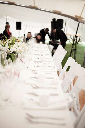 Long white wedding table