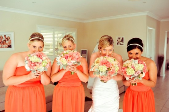 Tangerine orange bridesmaids dresses-