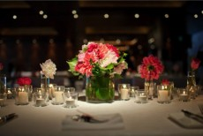 Well lit wedding table setting