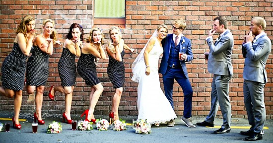 Our Bridal party striking a 1940s inspired pose.