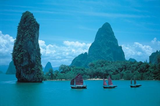 Siamese Junk sailing phang nga bay