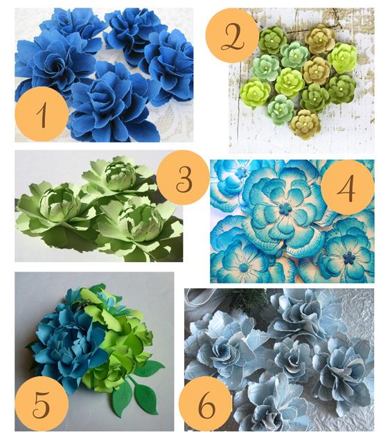 Blue Green Paper Flowers