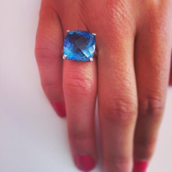 RScushion-checkerboard-blue-topaz-silver-ring-top-down-treated
