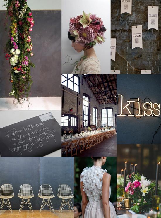 botnaical industrial wedding inspiration