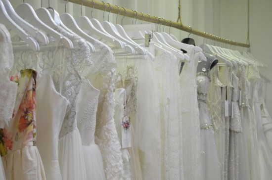 A selection of bridal gowns on display including Jennifer Gifford Bridal Designs