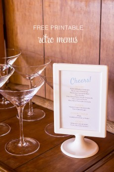 Free printable retro menus