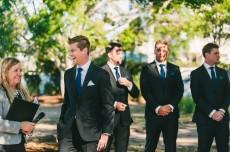 Brisbane City Celebrants Ciara putting the groom at ease.