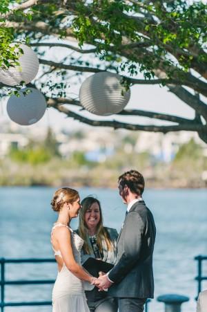 A Happy bride and groom with Brisbane City Celebrants Ciara Hodge