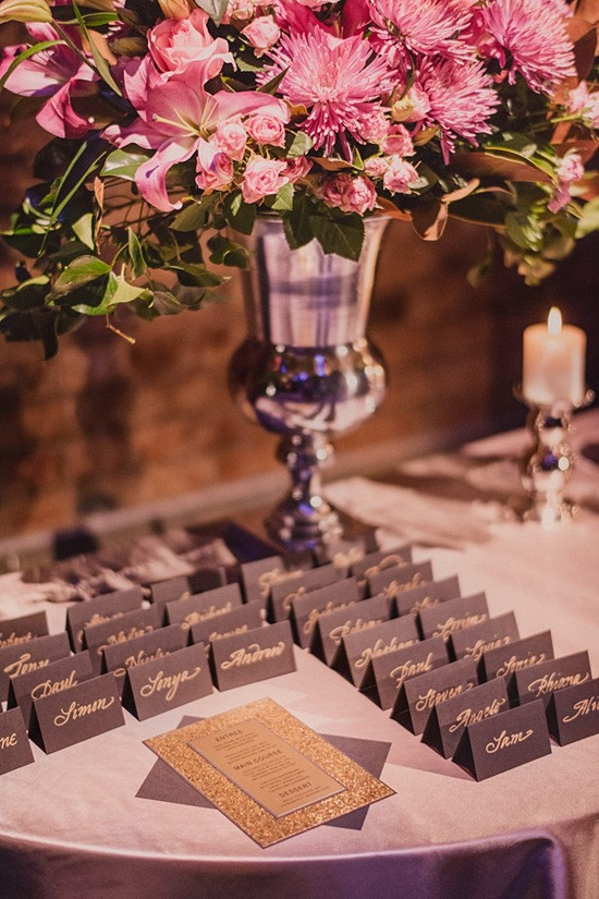 black with gold escort cards