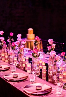 candle and roses wedding