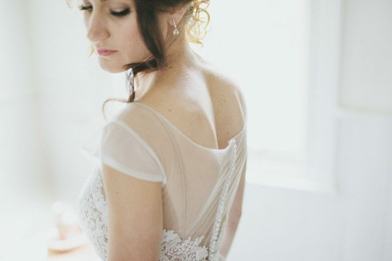 bridal gown with sheer back