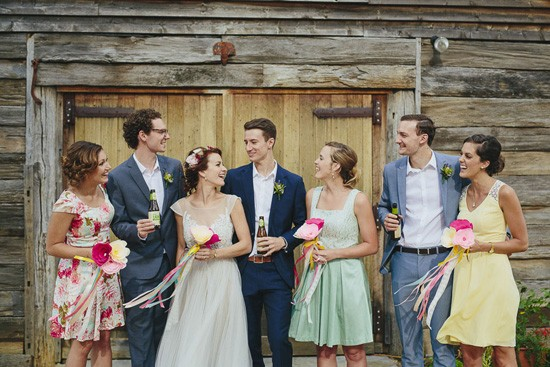 bridal party with paper flowers