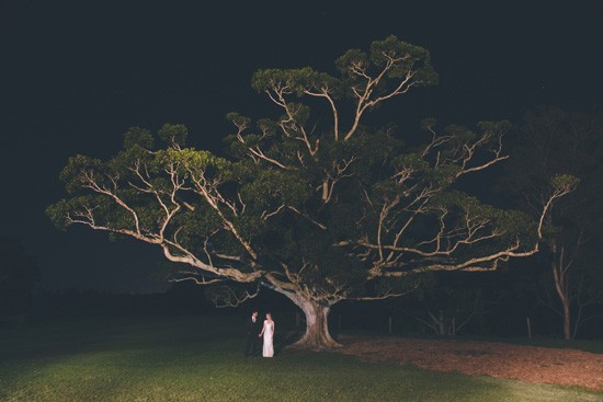 bride and groom under tree at night