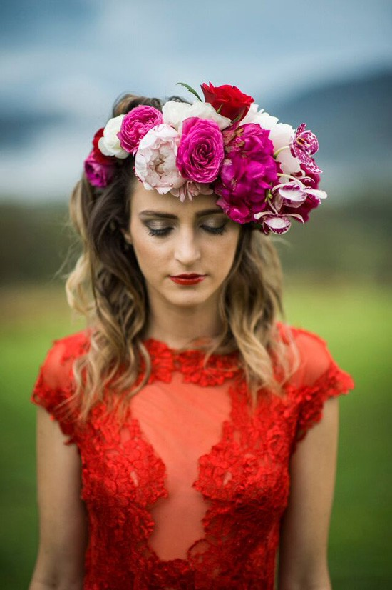 bride with dramatic flower crown