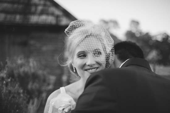 bride with modern birdcage veil
