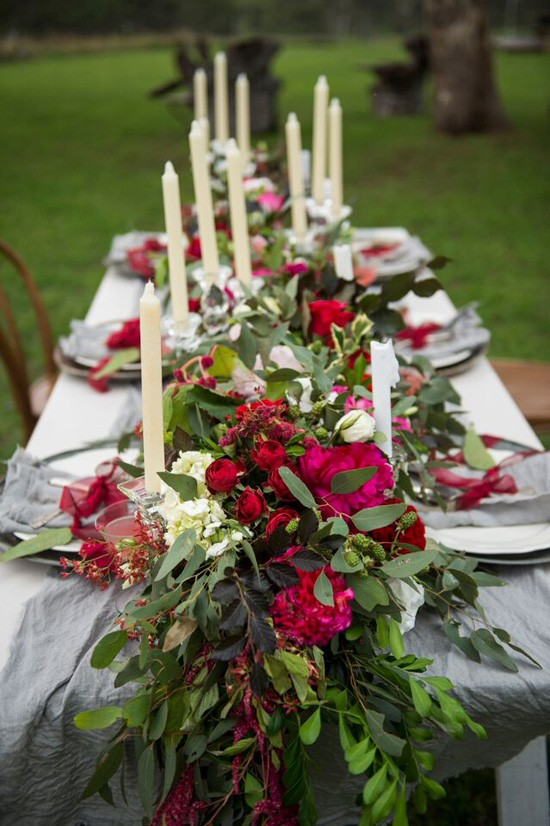 floral table garland with taper canldes