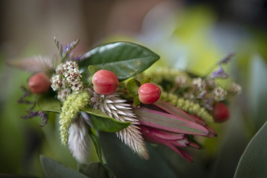 green and berry boutonniere.