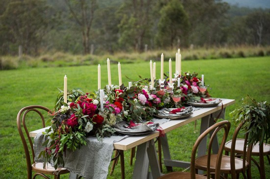 grey and red table setting