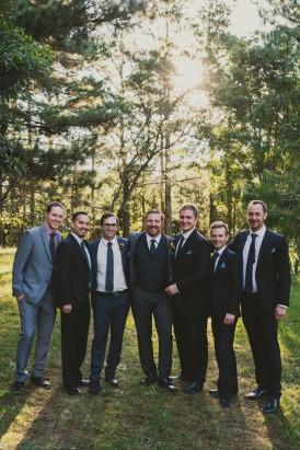 groom and groomsmen in pineforest wedding