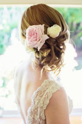 pink rose wedding hair style