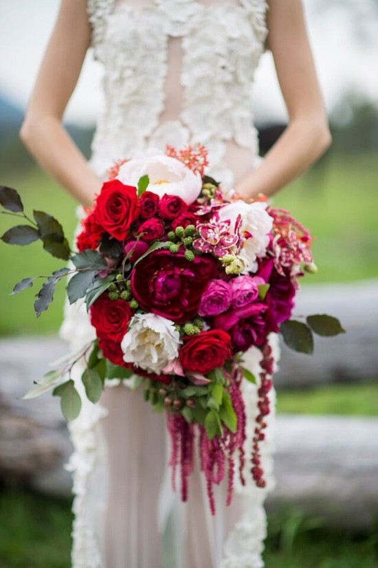 red pink and amarathus bouquet