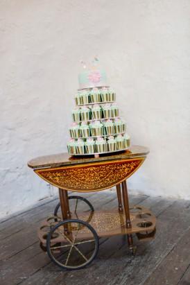Mint cupcake wedding cake