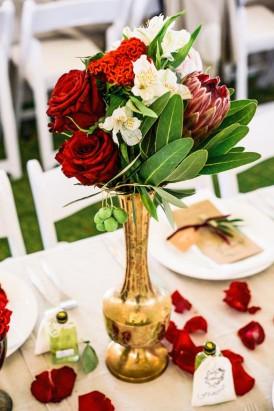 brass vase wedding decor