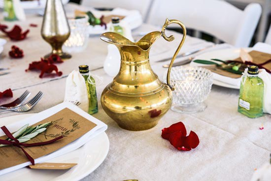brass wedding decor