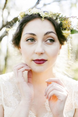 bride with dark lips and flower crown