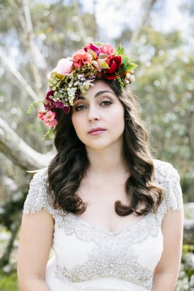pink and red flower crown