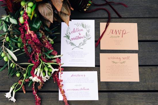raisin wedding stationery