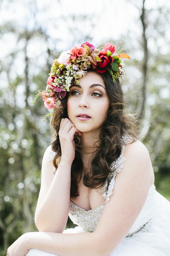 red and orange floral crown
