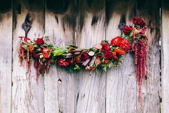 red rose wedding garland