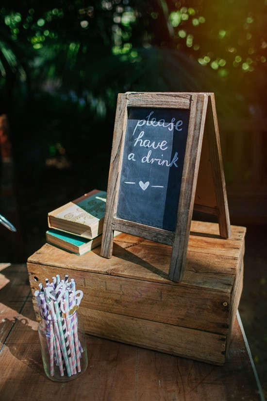 wedding ceremony drink sign
