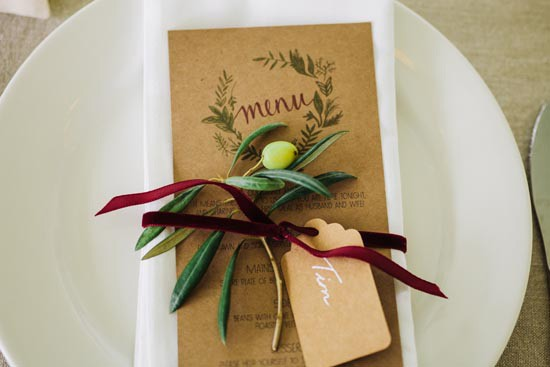 wedding menu with marsala ribbon