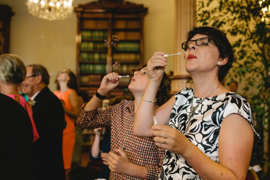 Blowing bubbles at wedding