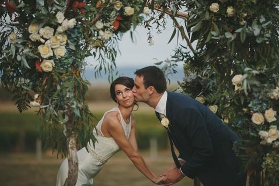Bride and groom under Eucalyptus