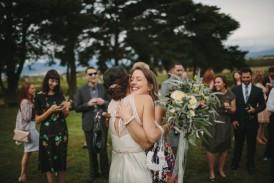 Bride having hugs psot weddin