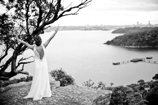Bride on clifftop in Sydney