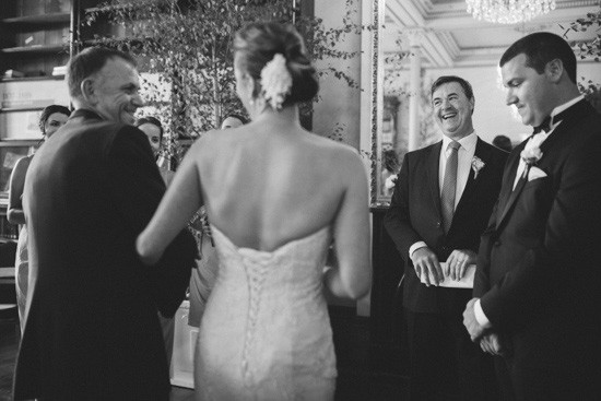 Bride walking gown the aisle