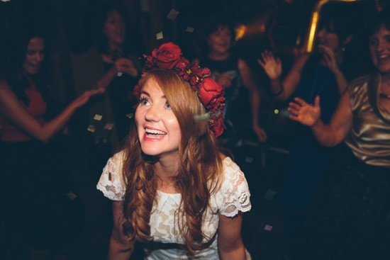 Bride with red rose flower crown