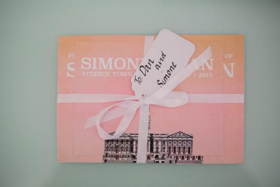 Peachy pink wedding invitation