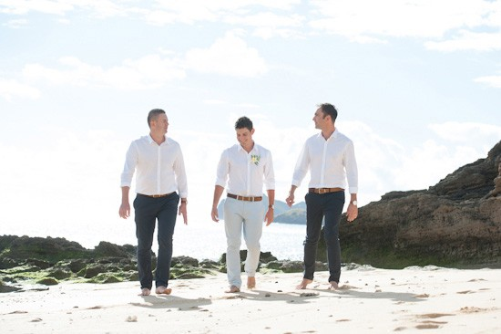 Tropical beach attire for groom