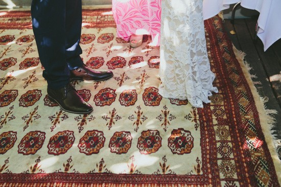 Vintage rug at wedding ceremony