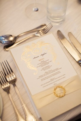 Wedding menu with cream ribbon