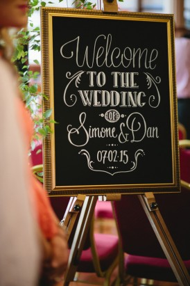 Wedding welcome sign with gold frame
