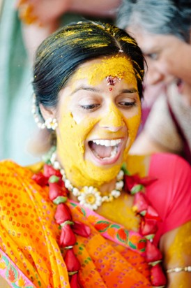 Australian bride with haldi paste