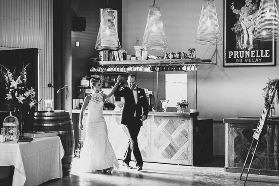 Bridal and groom entering wedding