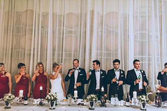 Bridal oarty raising a toast